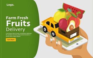 Farm fresh food mobile application vector