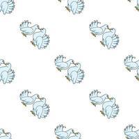 Paloma de colores de patrones sin fisuras. estilo de dibujos animados. dibujado a mano. ilustración vectorial aislado sobre fondo blanco. para papel tapiz, póster, pancarta. vector