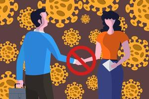 COVID-19 coronavirus disease, people should not shake hands vector
