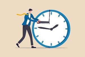 gestión del tiempo, balance de la línea de tiempo para el trabajo y la vida personal o el concepto de gestión de proyectos, empresario gerente o trabajador de oficina que usa una sierra para romper el reloj y administrar el tiempo para la fecha límite de los proyectos vector