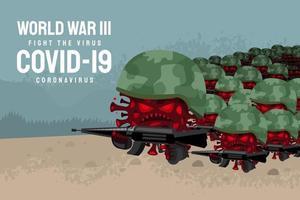COVID-19 coronavirus disease, virus depicted as soldiers in war vector