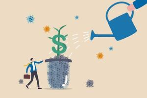 Economic recovery or business and financial market return to normal and growing concept, business owner standing and watering dollar sign plant growing from glass of dead Coronavirus COVID-19 pathogen vector