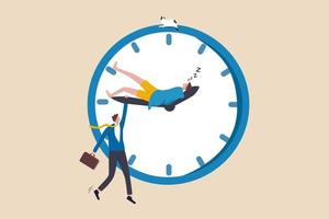 Work life balance, work overtime, people work late when work from home, personal time blend with working hours concept, tired businessman holding clock minute hand while same one sleeping on hour hand vector