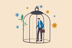 El bloqueo del coronavirus covid-19 impacta en los negocios, la economía y el empleo, las personas tienen más deudas y están en bancarrota en el concepto de crisis del coronavirus, el triste empresario deprime de pie en la jaula con el patógeno del virus. vector