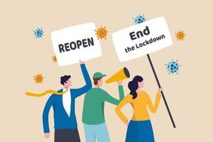 Protesta contra el coronavirus covid-19, personas que se reúnen para protestar para reabrir y poner fin al bloqueo para continuar el concepto de negocio, manifestantes de personas con letrero para detener el bloqueo del coronavirus con virus patógeno. vector