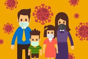 familia con máscaras para evitar el covid-19 vector