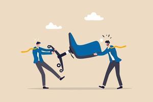 competencia empresarial, lucha o competencia por una vacante, promoción laboral o concepto de desarrollo profesional, competencia de empresarios pelean y tiran de la silla de administración de la oficina. vector