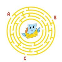 Circle maze. Game for kids. Puzzle for children. Round labyrinth conundrum. Color vector illustration. Find the right path. Education worksheet.