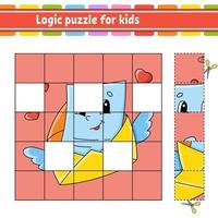 Logic puzzle for kids envelope. Education developing worksheet. Learning game for children. Activity page. Simple flat isolated vector illustration in cute cartoon style.