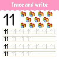 aprender el número 11. trazar y escribir. tema de invierno. práctica de escritura a mano. aprender números para niños. hoja de trabajo de desarrollo educativo. página de actividad de color. Ilustración de vector aislado en estilo de dibujos animados lindo.