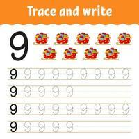 aprender los números 9. trazar y escribir. tema de invierno. práctica de escritura a mano. aprender números para niños. hoja de trabajo de desarrollo educativo. página de actividad de color. Ilustración de vector aislado en estilo de dibujos animados lindo.