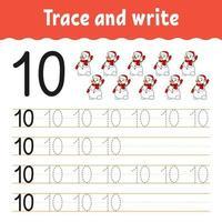 aprender el número 10. trazar y escribir. tema de invierno. práctica de escritura a mano. aprender números para niños. hoja de trabajo de desarrollo educativo. página de actividad de color. Ilustración de vector aislado en estilo de dibujos animados lindo.