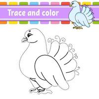 Trace and color dove. Coloring page for kids. Handwriting practice. Education developing worksheet. Activity page. Game for toddlers. Isolated vector illustration. Cartoon style.