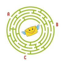 Circle maze envelope. Game for kids. Puzzle for children. Round labyrinth conundrum. Color vector illustration. Find the right path. Education worksheet.