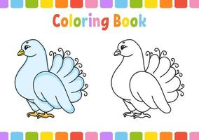 libro para colorear para niños paloma. personaje animado. ilustración vectorial. página de fantasía para niños. Día de San Valentín. silueta de contorno negro. aislado sobre fondo blanco. vector