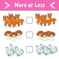 More or less. Educational activity worksheet for kids and toddlers. Isolated color vector illustration in cute cartoon style.