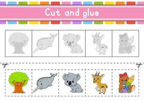 Cut and play animal. Paper game with glue. Flash cards. Education worksheet. Activity page. Scissors practice. Isolated vector illustration. Cartoon style.