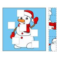 Puzzle game for kids snowman. Cut and paste. Cutting practice. Learning shapes. Education worksheet. Winter theme. Activity page. Cartoon character. vector