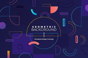 Geometric background with bright colors and dynamic shape compositions vector