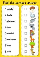 juego de correspondencias para niños. aprender palabras inglesas. hoja de trabajo de desarrollo educativo. página de actividad de color. personaje animado. vector