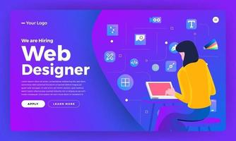 Landing page for web designer hiring announcement vector