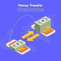 Two smartphones transferring money online vector
