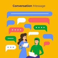People chatting online with chat box bubbles vector