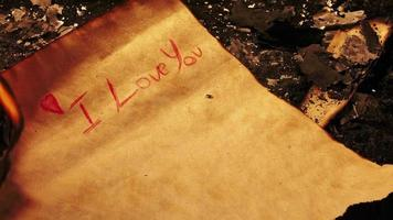 I Love You Letter on Paper Burns