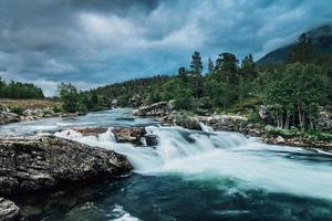 Flushing river in Norway with fresh turquoise water