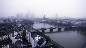 Frankfurt Germany Maine River and Business Towers in Snowy Day video