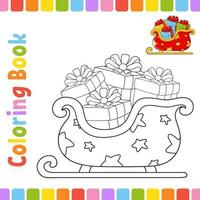 Coloring book for kids sleigh. Winter theme. Cheerful character. Vector illustration. Cute cartoon style. Fantasy page for children. Black contour silhouette. Isolated on white background.