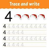 aprender el número 4. trazar y escribir. tema de invierno. práctica de escritura a mano. aprender números para niños. hoja de trabajo de desarrollo educativo. página de actividad de color. Ilustración de vector aislado en estilo de dibujos animados lindo.