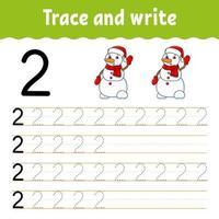 aprender el número 2. trazar y escribir. tema de invierno. práctica de escritura a mano. aprender números para niños. hoja de trabajo de desarrollo educativo. página de actividad de color. Ilustración de vector aislado en estilo de dibujos animados lindo.