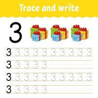 aprender el número 3. trazar y escribir. tema de invierno. práctica de escritura a mano. aprender números para niños. hoja de trabajo de desarrollo educativo. página de actividad de color. Ilustración de vector aislado en estilo de dibujos animados lindo.