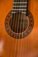 Partial close-up of an acoustic guitar photo