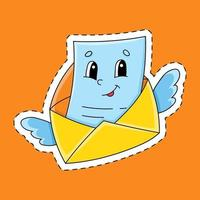 pegatina con letra de contorno. personaje animado. ilustración vectorial colorida. aislado sobre fondo de color. plantilla para su diseño. vector