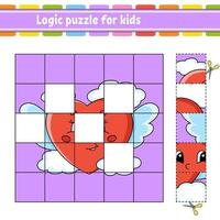 Logic puzzle for kids with heart. Education developing worksheet. Learning game for children. Activity page. Simple flat isolated vector illustration in cute cartoon style.