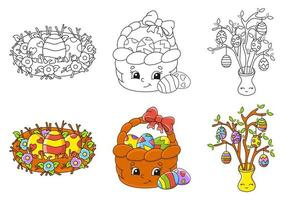 Easter coloring book vector