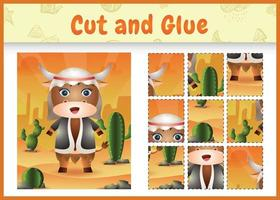 Children board game cut and glue themed easter with a cute buffalo using arabic traditional costume vector