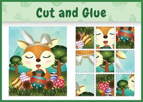 juego de mesa para niños cortar y pegar pascua temática con un lindo ciervo usando diademas de orejas de conejo abrazando huevos vector