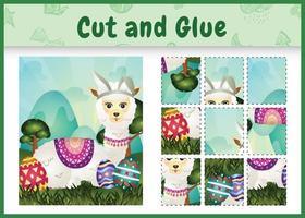 juego de mesa para niños cortar y pegar pascua temática con una linda alpaca usando diademas de orejas de conejo abrazando huevos vector
