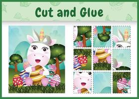 juego de mesa para niños cortar y pegar pascua temática con un lindo unicornio usando diademas de orejas de conejo abrazando huevos vector