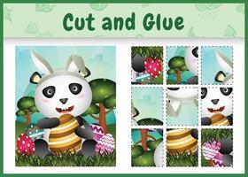juego de mesa para niños cortar y pegar pascua temática con un lindo panda usando diademas de orejas de conejo abrazando huevos vector