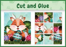 juego de mesa para niños cortar y pegar pascua temática con un lindo zorro usando diademas de orejas de conejo abrazando huevos vector