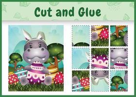 juego de mesa para niños cortar y pegar pascua temática con un lindo hipopótamo usando diademas de orejas de conejo abrazando huevos vector