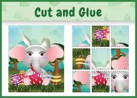 juego de mesa para niños cortar y pegar pascua temática con un lindo pollito elefante orejas de conejo diademas abrazando huevos vector