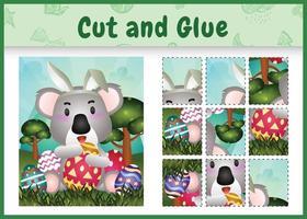 juego de mesa para niños cortar y pegar pascua temática con un lindo koala usando diademas de orejas de conejo abrazando huevos vector