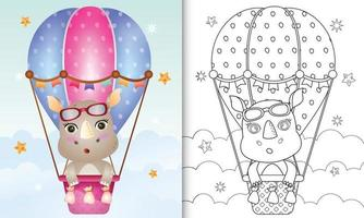 coloring book for kids with a cute rhino on hot air balloon vector