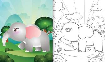 coloring book for kids with a cute elephant character illustration vector