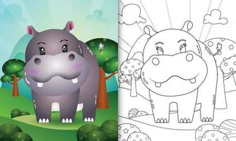 coloring book for kids with a cute hippo character illustration vector